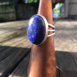 Lapis + Sterling Turquoise Ring • Size 9.5