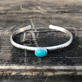 Kingman Turquoise + Sterling Silver Stacker Cuff