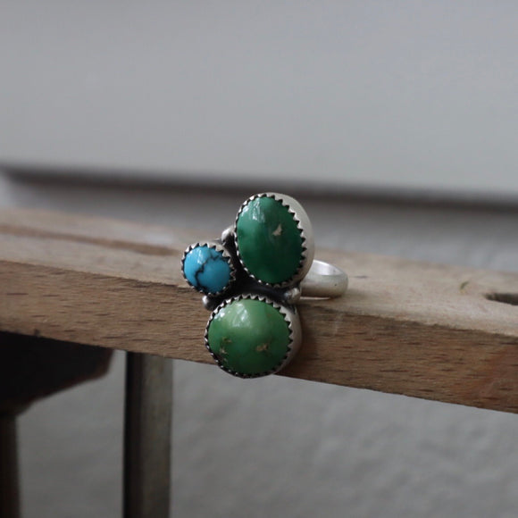 Emerald Valley Turquoise + Turquoise Mountain Turquoise + Sterling Silver Ring • Size 6.5