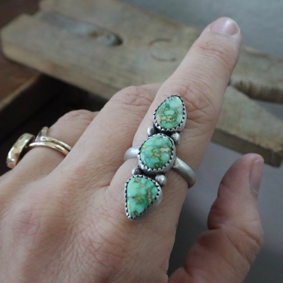 Sonoran Gold Turquoise + Sterling Silver Ring • Size 7.5
