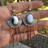 White Buffalo + Copper Chandelier Earrings