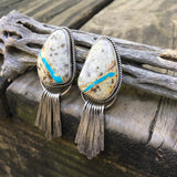 Natural Royston Ribbon Turquoise + Sterling Silver Earrings