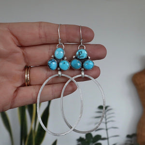 Candelaria Turquoise Cluster + Sterling Silver Earrings