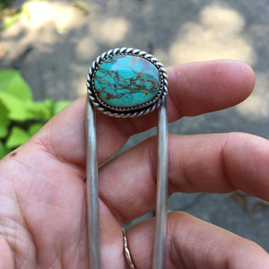 Royston Turquoise + Sterling Silver Hairpin