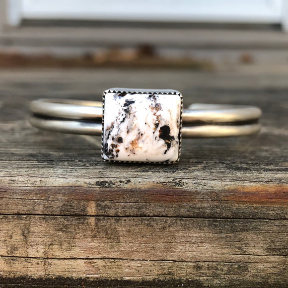 White Buffalo + Sterling Silver Stacker Cuff