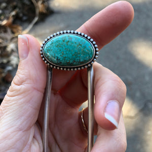 Carico Lake Turquoise + Sterling Silver Hairpin