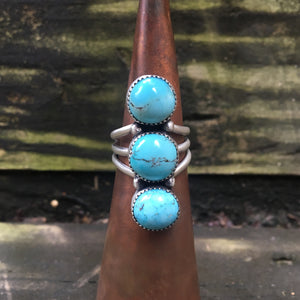 Turquoise + Sterling Silver Ring • Size 7