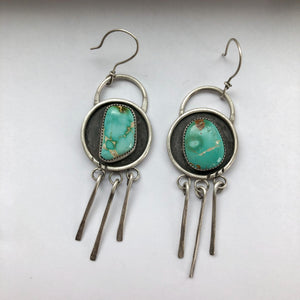 Royston Turquoise + Sterling Silver Shadowbox Earrings with Fringe