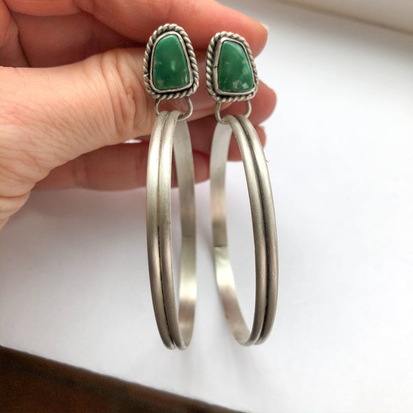 Fox Turquoise + Sterling Silver Post Hoop Earrings
