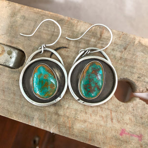 Crow Springs Turquoise + Sterling Silver Shadowbox Earrings