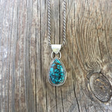Natural Cloud Mountain Turquoise + Sterling Silver Pendant
