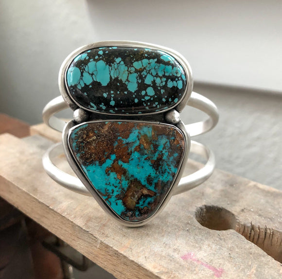 Pilot Mountain + Hubei Turquoise and Sterling Silver Cuff