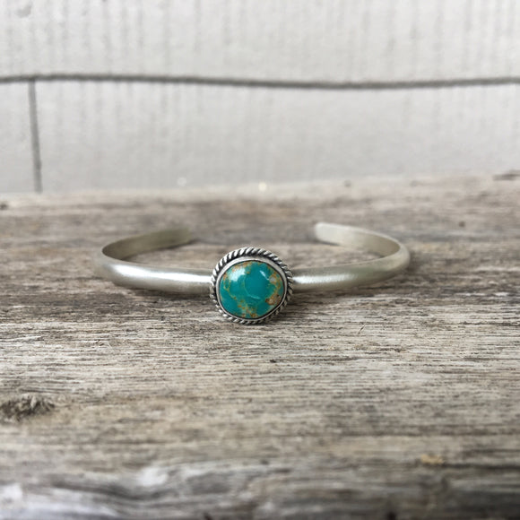 Turquoise + Sterling Silver Stacker Cuff