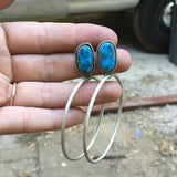 Kingman Turquoise + Sterling Silver Post Hoop Earrings