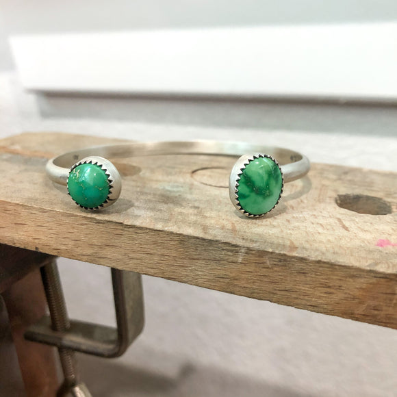 Emerald Valley Turquoise + Sterling Silver Reverse Stacker Cuff