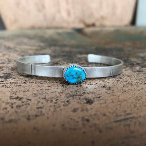 Morenci Turquoise + Sterling Silver Stacker Cuff
