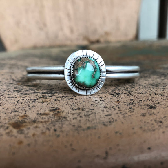 Damele Turquoise + Sterling Silver Stacker Cuff