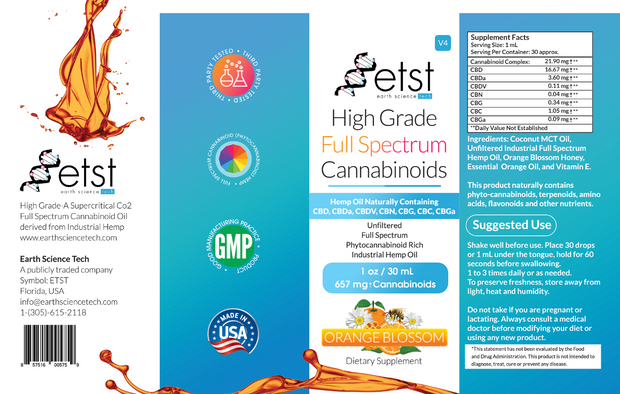 Full Spectrum Cannabinoids Orange Blossom 1oz 657mg - Earthsciencetech