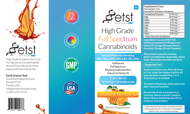 Full Spectrum Cannabinoids Orange Blossom 2oz 1,314mg - Earthsciencetech