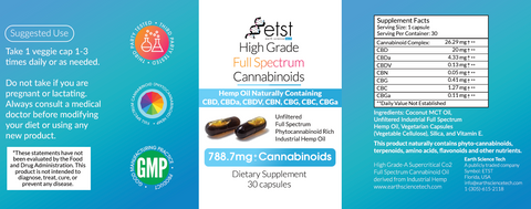 Full Spectrum Cannabinoids Vegetarian Capsules 30ct 788.7mg - Earthsciencetech