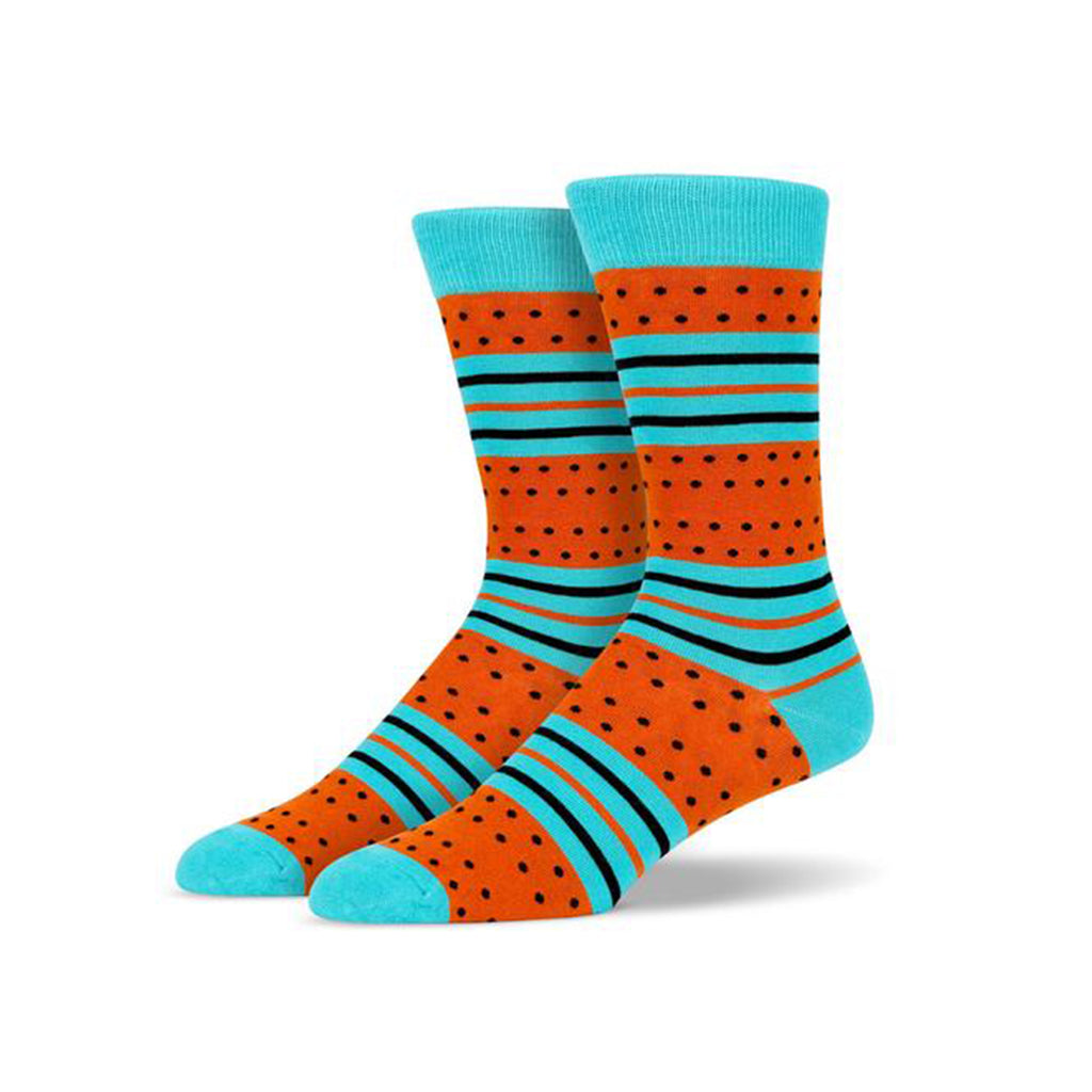 Baby Blue Orange Polka Dot Socks | SMOKE & SODA