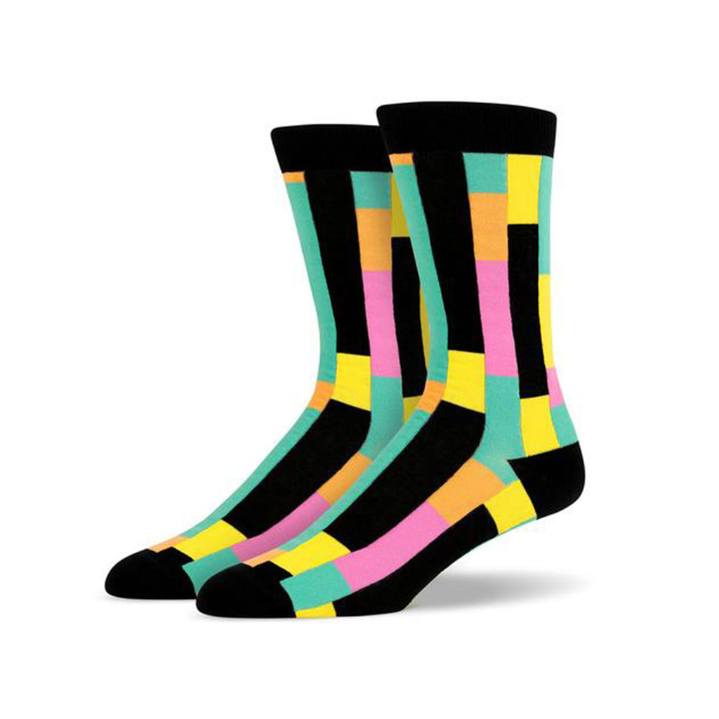 Black Green Pink Yellow Vertical Lines Socks | SMOKE & SODA