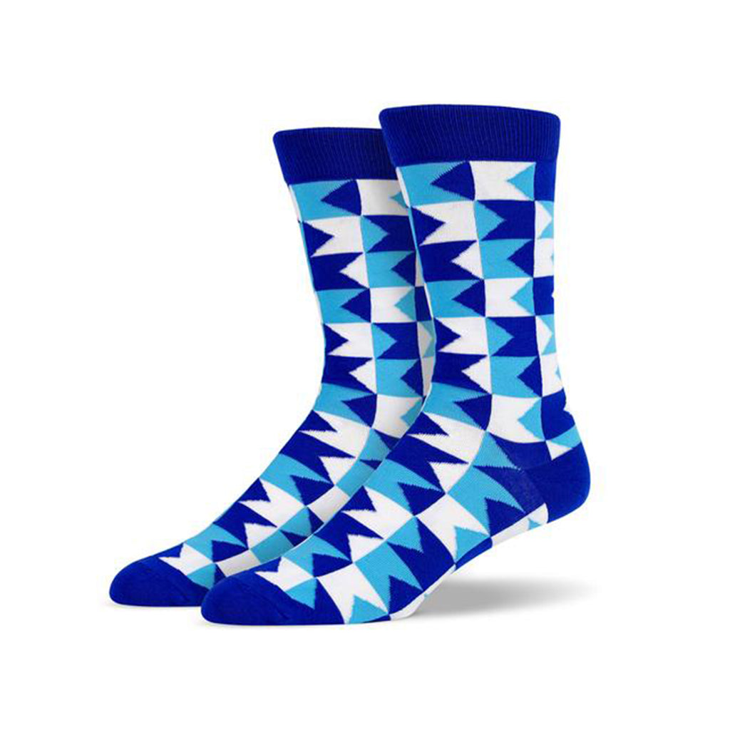 Blue Monochromatic Chevron Socks | SMOKE & SODA