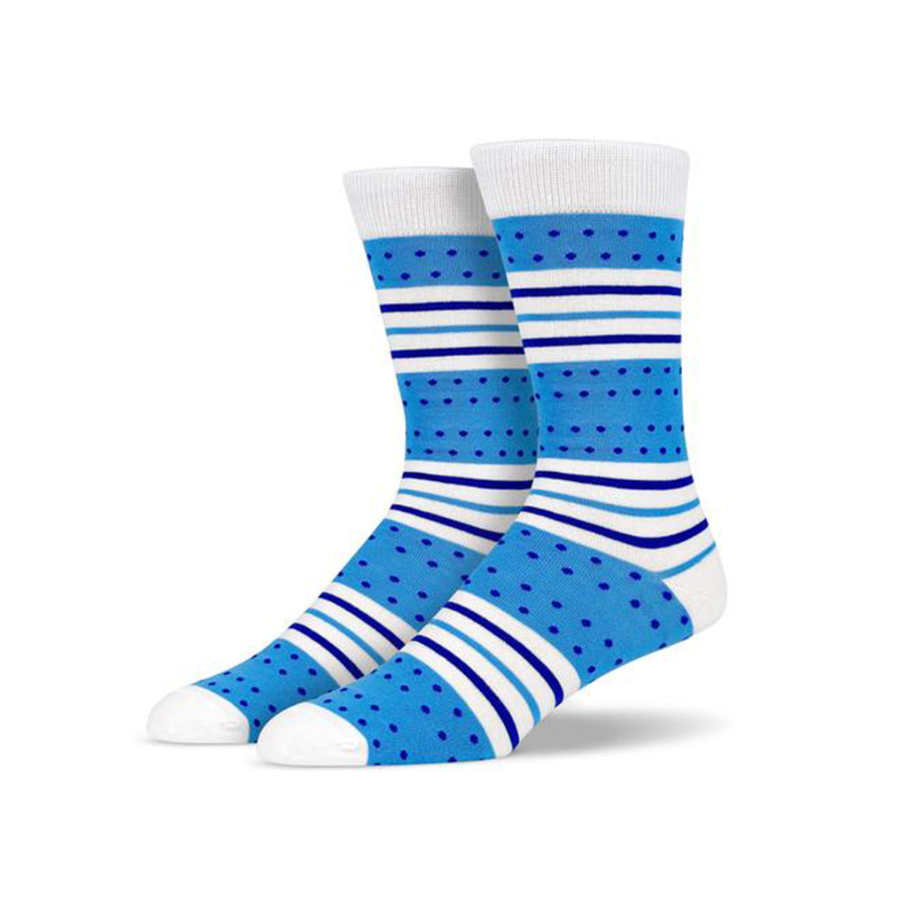 Blue White Dots and Stripes Socks | SMOKE & SODA
