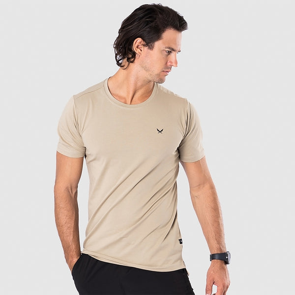 FUNDAMENTAL Men's khaki short-sleeve t-shirt | SMOKE & SODA