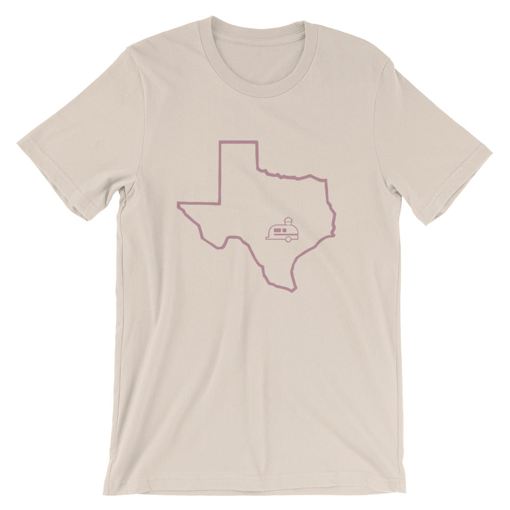 cream hey cupcake shirt with mauve state of Texas outline