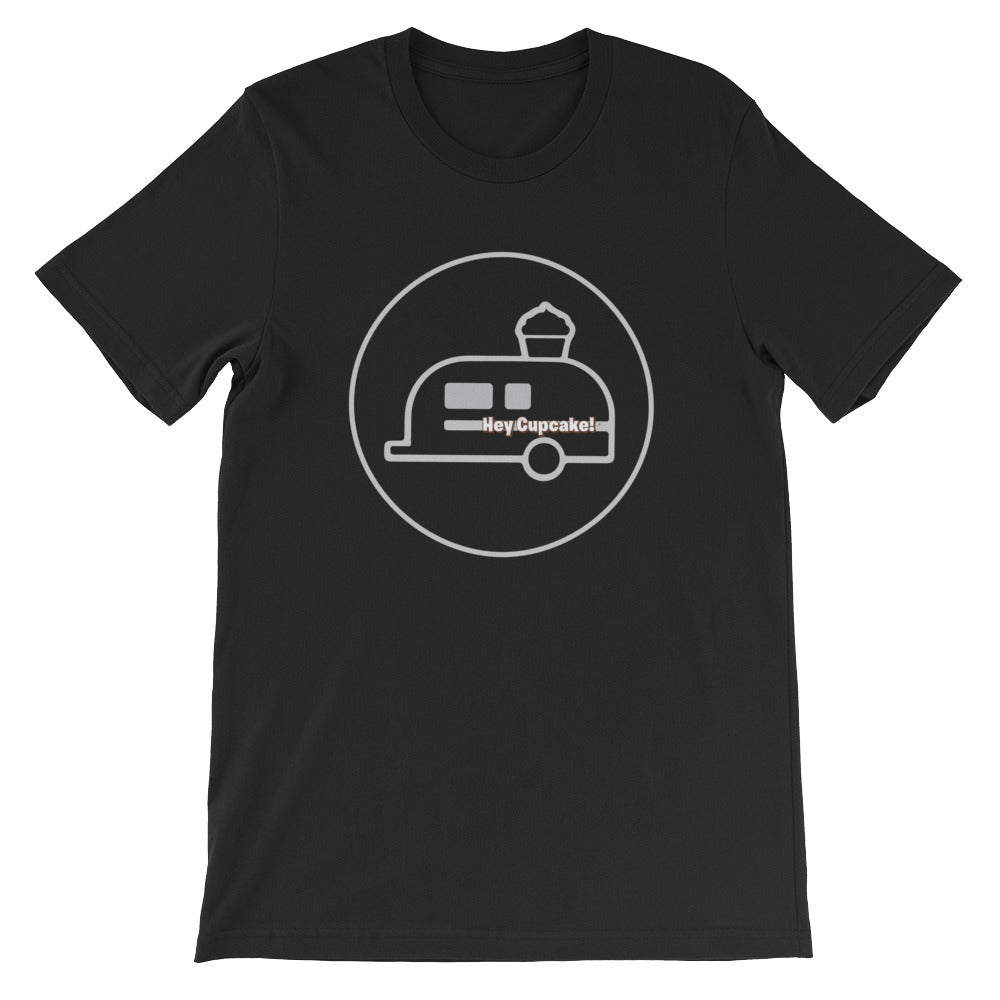 hey cupcake t-shirt black with silver airstream logo
