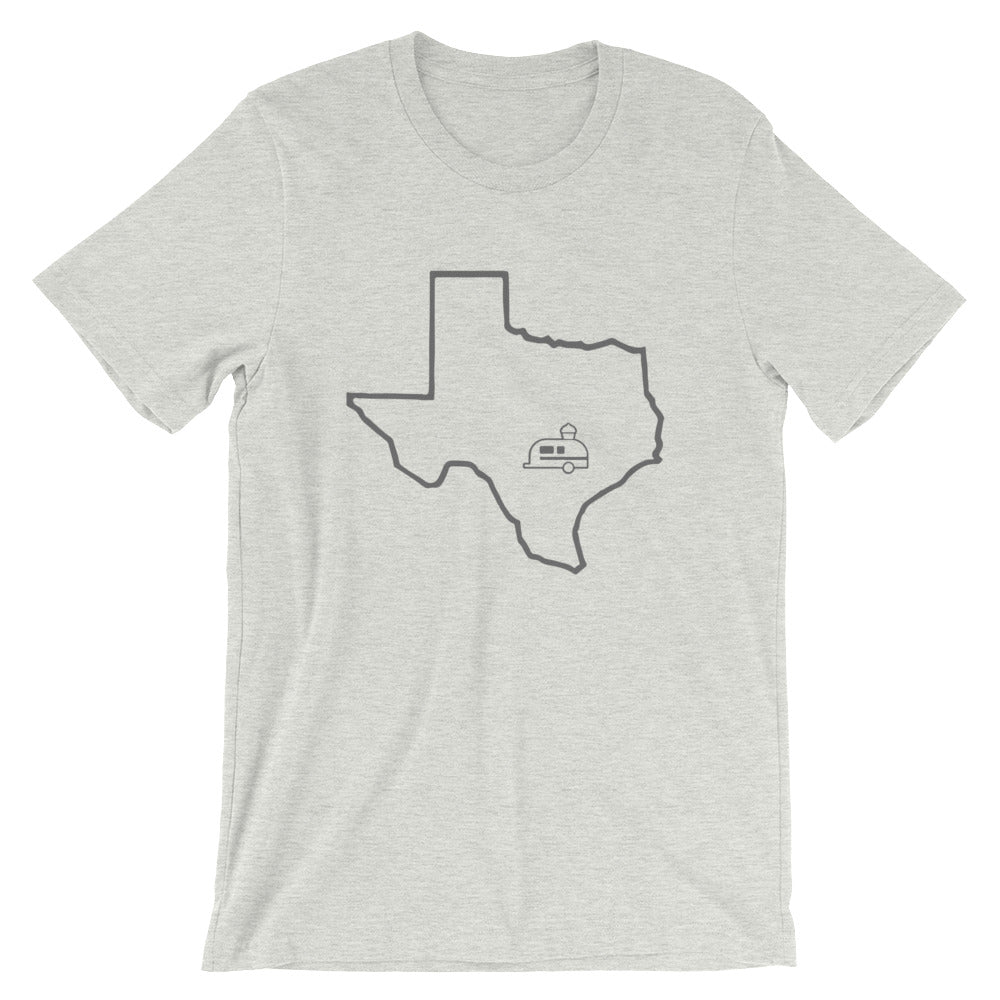 light gray hey cupcake t-shirt with dark gray texas outline