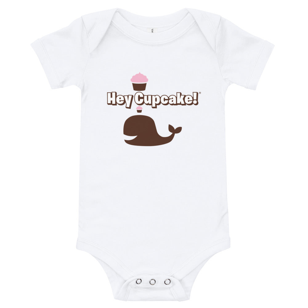 Cupcake Whale Baby Bodysuit - White