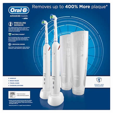 Oral-B Advanced Clean Power Rechargeable Electric Toothbrushes, 2-pack - Emerson Dental & Medical Supply