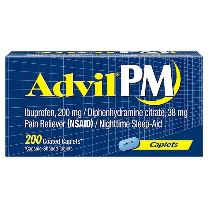 Advil PM, Pain Reliever/Nighttime Sleep Aid, 200 Caplets - Emerson Dental & Medical Supply