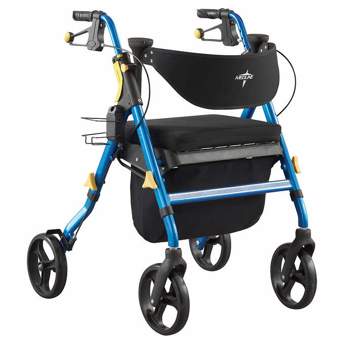Premium Empower Rollator Walker with Seat, Folding Rolling 8 Inch