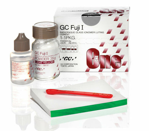 Fuji I Luting Cement Powder and Liquid Kit - Light Yellow by GC - Emerson Dental & Medical Supply