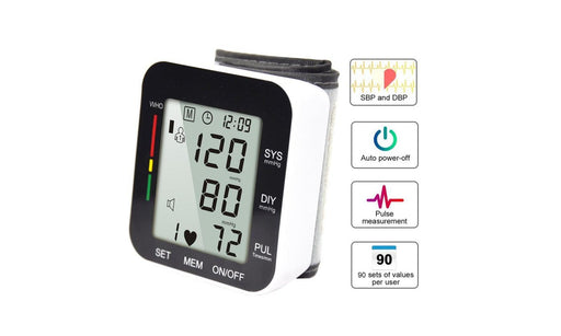 Automatic Digital Wrist Blood Pressure Monitor BP Cuff Machine Home Test Device - Emerson Dental & Medical Supply