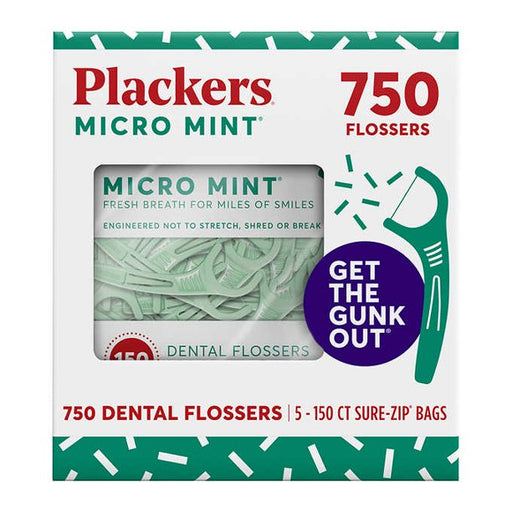 PLACKERS MICRO MINT DENTAL FLOSSERS, 750 COUNT - Emerson Dental & Medical Supply