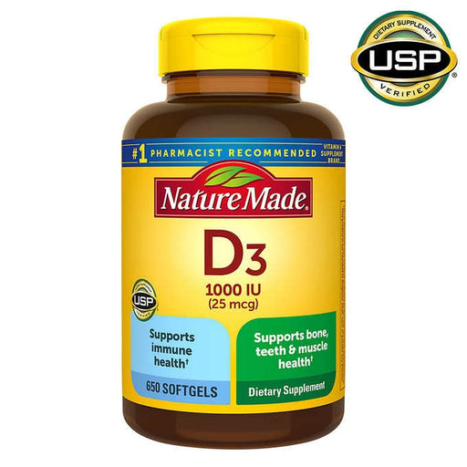 Nature Made Vitamin D3 25 mcg., 650 Softgels - Emerson Dental & Medical Supply