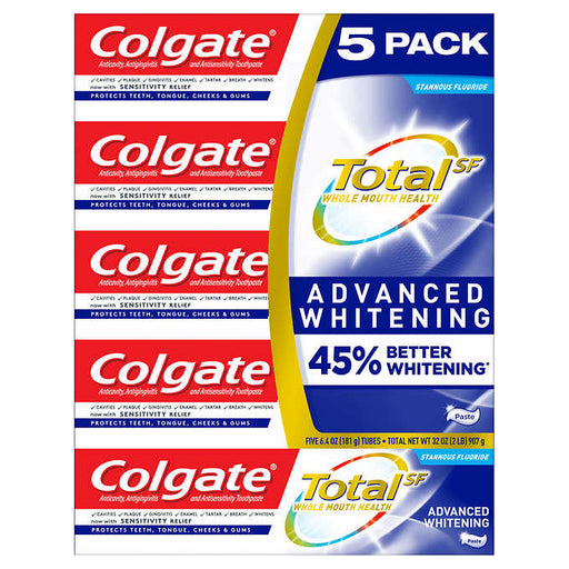 Colgate Total SF Advanced Whitening Toothpaste 6.4 oz, 5-pack - Emerson Dental & Medical Supply