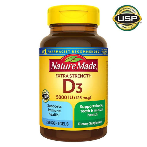 Nature Made Extra Strength Vitamin D3 125 mcg, 220 Softgels - Emerson Dental & Medical Supply