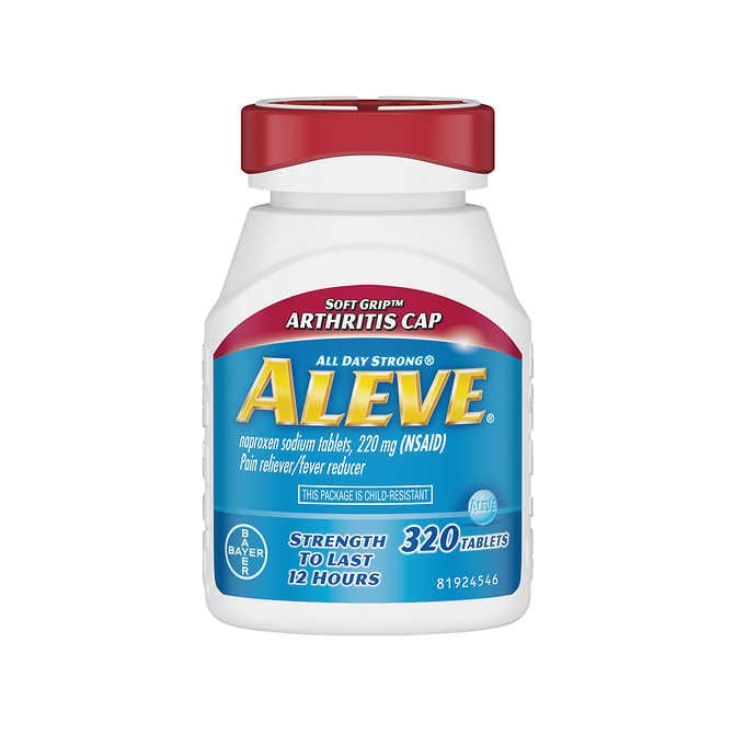 Aleve Naproxen Sodium 220 mg. Soft Grip Arthritis Cap Pain Reliever/Fever Reducer, 320 Tablets - Emerson Dental & Medical Supply
