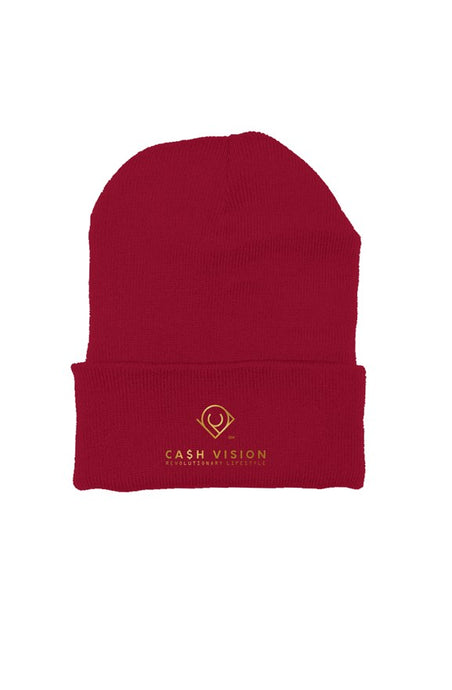 Cash Vision Embroidered Beanie -Cranberry