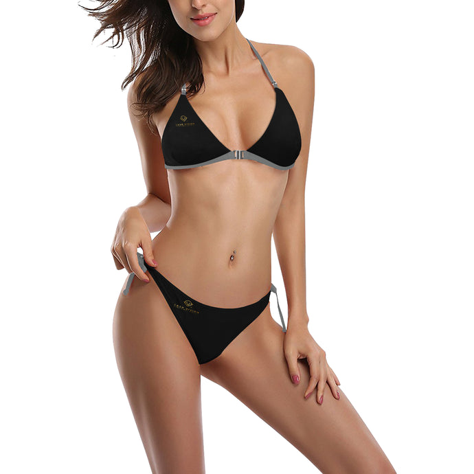 Cash Vision Front Buckle Halter Bikini - Black Grey