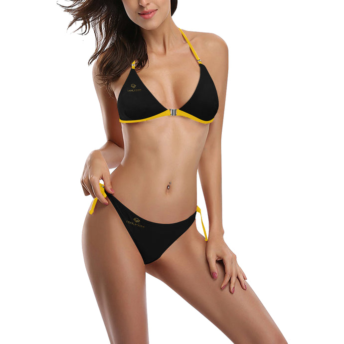 Cash Vision Front Buckle Halter Bikini - Black Yellow