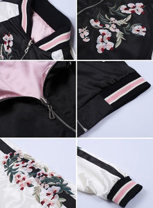 Peaceful Sakura Floral Double Sided Jacket - Black Pink