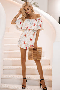 Dreamy Girl Off Shoulder Romper - White