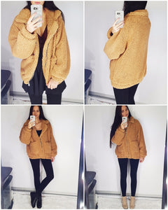 Fashionista Me Faux Fur Jacket - Light Camel