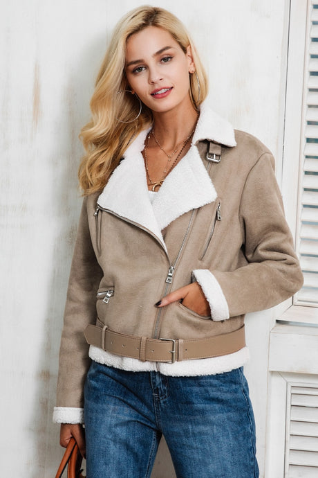 Love Me Suede Fur Jacket - Khaki